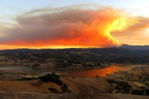 loma-fire-from-above-calero-reservoir-by-ron-horii